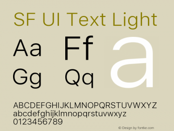 SF UI Text Light Version 1.00 December 6, 2016, initial release图片样张