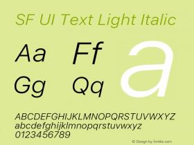 SF UI Text Light Italic Version 1.00 December 6, 2016, initial release图片样张