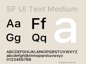 SF UI Text Medium Version 1.00 December 6, 2016, initial release图片样张