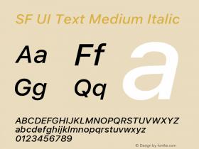 SF UI Text Medium Italic Version 1.00 December 6, 2016, initial release图片样张