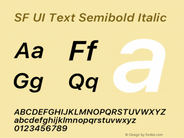 SF UI Text Semibold Italic Version 1.00 December 6, 2016, initial release图片样张