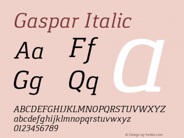 Gaspar Italic Version 1.000 2012 initial release图片样张
