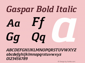 Gaspar Bold Italic Version 1.000 2012 initial release Font Sample