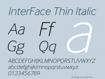 InterFace Thin Italic Version 2.001图片样张
