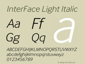 InterFace Light Italic Version 2.001图片样张