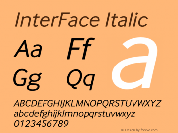 InterFace Italic Version 2.001图片样张
