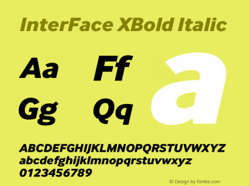 InterFace XBold Italic Version 2.001图片样张