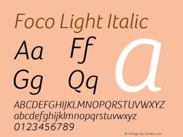 Foco Light Italic Version 1.101图片样张