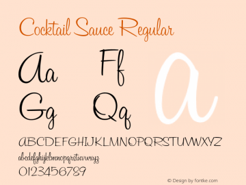 CocktailSauce Version 1.000;com.myfonts.sideshow.cocktail-sauce.regular.wfkit2.46hD图片样张