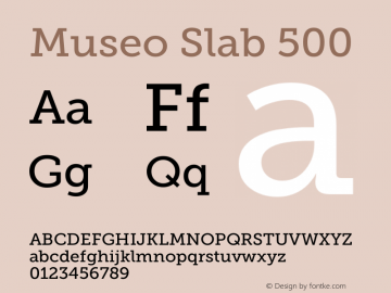 Museo Slab 500 Version 1.000; Fonts for Free; vk.com/fontsforfree图片样张