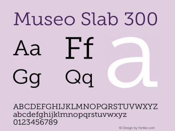 Museo Slab 300 Version 1.000; Fonts for Free; vk.com/fontsforfree图片样张