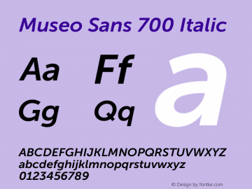 Museo Sans 700 Italic Version 1.000; Fonts for Free; vk.com/fontsforfree图片样张