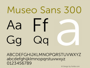 Museo Sans 300 Version 1.000; Fonts for Free; vk.com/fontsforfree图片样张