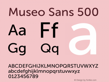 Museo Sans 500 Version 1.000; Fonts for Free; vk.com/fontsforfree图片样张