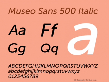 Museo Sans 500 Italic Version 1.000; Fonts for Free; vk.com/fontsforfree图片样张
