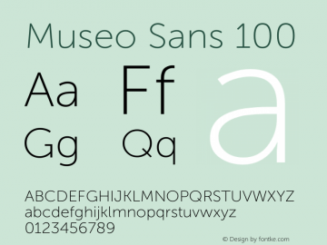 Museo Sans 100 Version 1.000; Fonts for Free; vk.com/fontsforfree图片样张