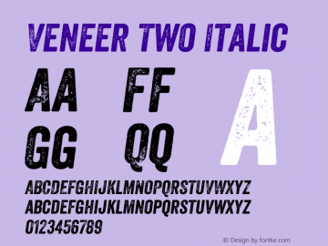 Veneer Two Italic Version 1.001; Fonts for Free; vk.com/fontsforfree图片样张