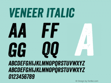 Veneer Italic Version 1.001; Fonts for Free; vk.com/fontsforfree图片样张