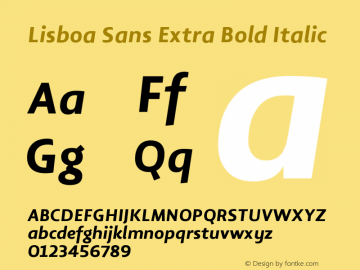 Lisboa Sans Extra Bold Italic Version 2.000图片样张