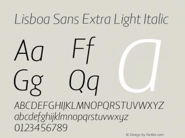 Lisboa Sans Extra Light Italic Version 2.000图片样张