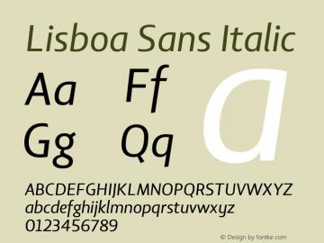 Lisboa Sans Italic Version 2.000图片样张
