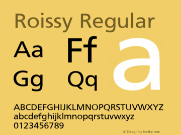 Roissy Regular Converted from U:\HOME\PEARCE\AT\TTFONTS\ST000049.TF1 by ALLTYPE Font Sample