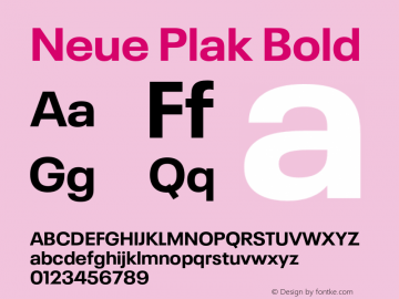 Neue Plak Bold Version 1.00, build 9, s3图片样张
