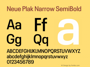 Neue Plak Narrow SemiBold Version 1.00, build 9, s3图片样张