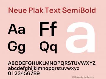 Neue Plak Text SemiBold Version 1.00, build 10, s3图片样张