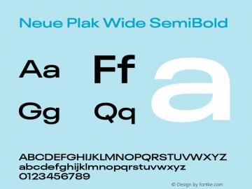 Neue Plak Wide SemiBold Version 1.00, build 9, s3图片样张