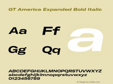 GTAmerica-ExpandedBoldItalic Version 1.003;PS 001.003;hotconv 1.0.88;makeotf.lib2.5.64775图片样张