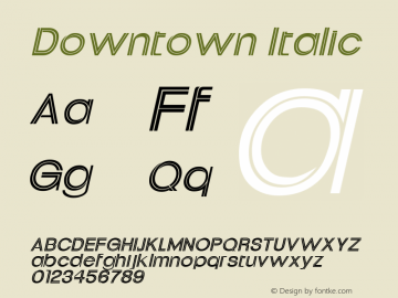 Downtown Italic Altsys Fontographer 4.1 11/2/95 Font Sample