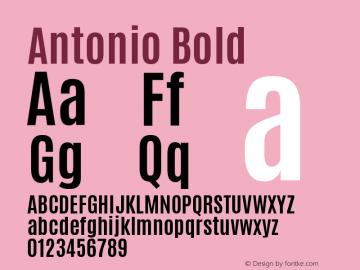 Antonio Bold Version 1 ; ttfautohint (v0. Font Sample