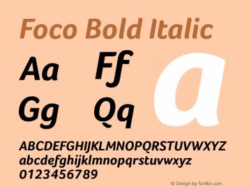 Foco Bold Italic Version 1.000图片样张