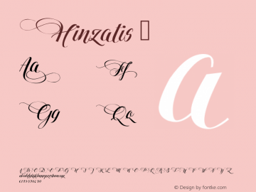 ☞Hinzatis Version 1.00 July 14, 2016, initial release;com.myfonts.easy.agasilva.hinzatis.regular.wfkit2.version.4Caa图片样张