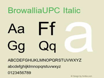 BrowalliaUPC Italic Version 5.05图片样张