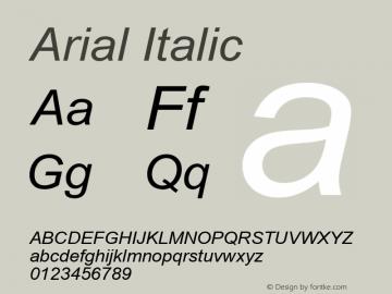 Arial Italic Version 7.00图片样张
