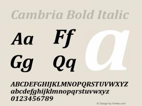 Cambria Bold Italic Version 5.96图片样张