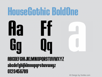 HouseGothic-BoldOne Version 001.000图片样张