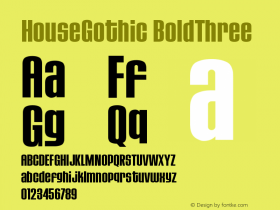 HouseGothic-BoldThree Version 001.000图片样张