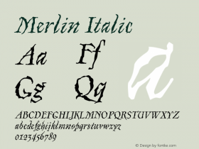 Merlin-Italic Version 001.000图片样张