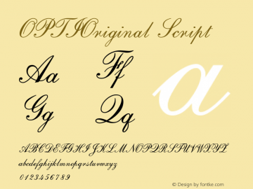 OPTIOriginal-Script Version 001.000 Font Sample