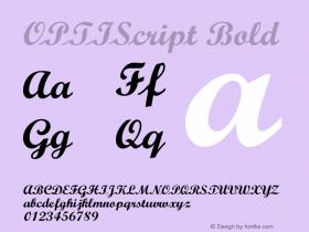 OPTIScript-Bold Version 001.000 Font Sample