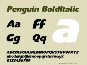 Penguin-BoldItalic Version 001.000图片样张