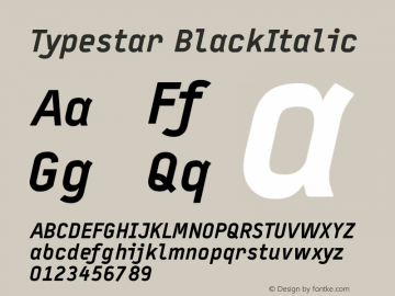 Typestar-BlackItalic Version 001.000图片样张