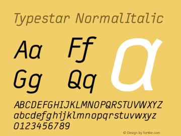 Typestar-NormalItalic Version 001.000图片样张