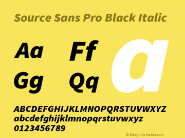 Source Sans Pro Black Italic Version 1.075;PS 2.000;hotconv 1.0.86;makeotf.lib2.5.63406图片样张