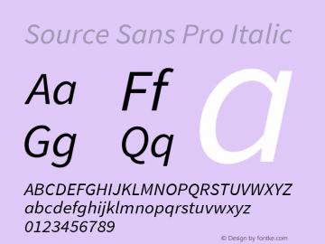 Source Sans Pro Italic Version 1.075;PS 2.000;hotconv 1.0.86;makeotf.lib2.5.63406图片样张