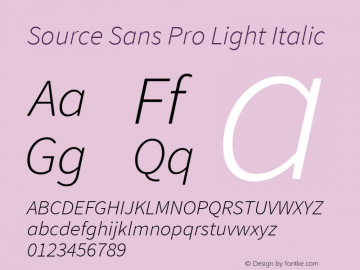 Source Sans Pro Light Italic Version 1.075;PS 2.000;hotconv 1.0.86;makeotf.lib2.5.63406图片样张