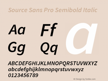 Source Sans Pro Semibold Italic Version 1.075;PS 2.000;hotconv 1.0.86;makeotf.lib2.5.63406图片样张